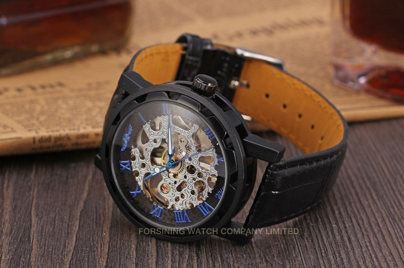 Winner Men Automatic Watch Black Case Blue Roman Numerals