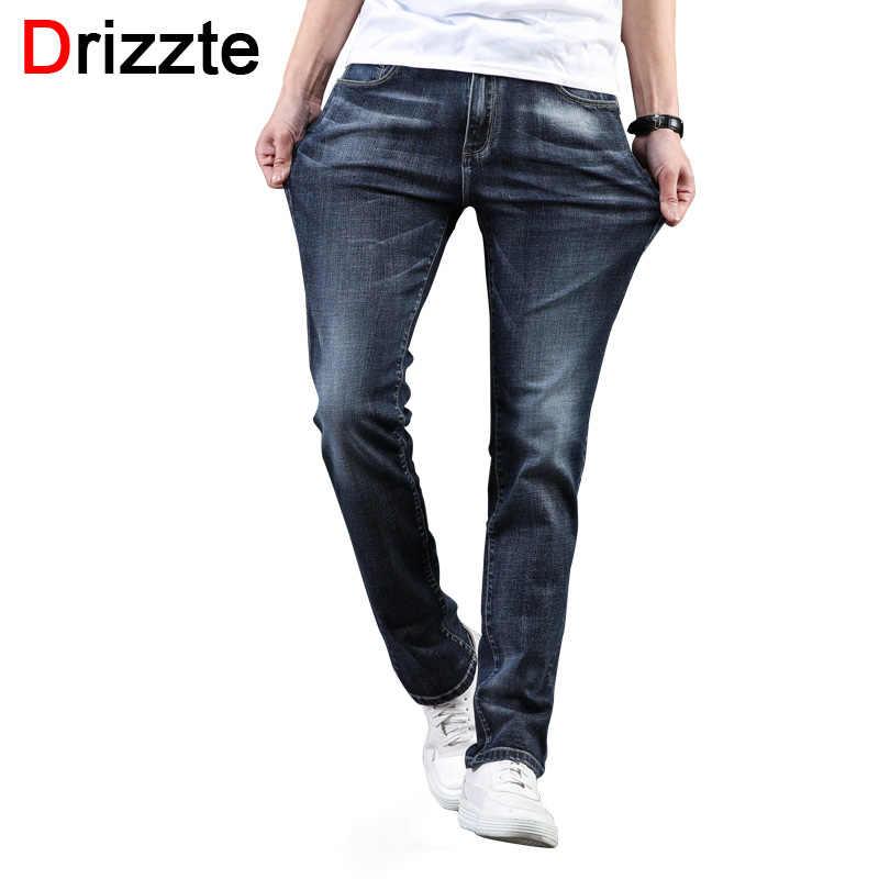 70817cc3 Drizzte Mens 2018 Trendy Plus Size 28-46 Blue Grey Stretch Slim Fit Jeans  Denim