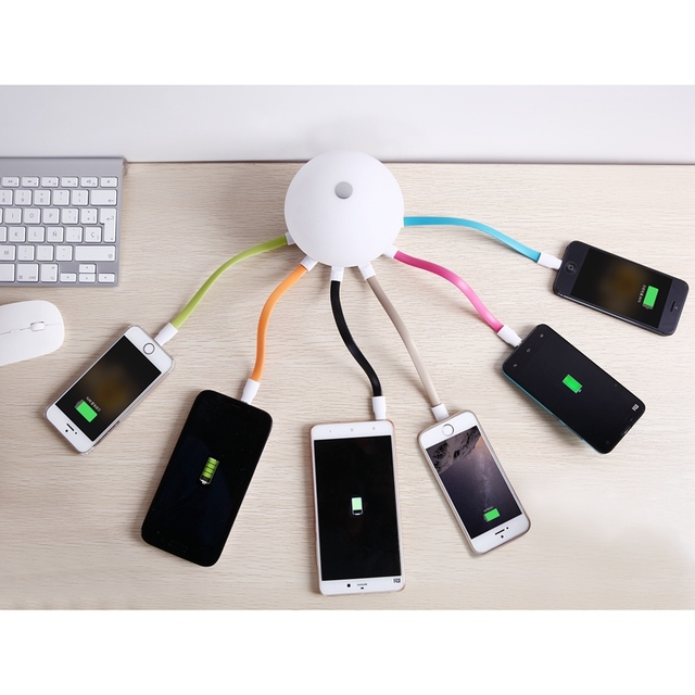 6 Ports USB Charger Adapter Smart Light USB HUB  Light Control  Desktop Lamp for iPhone For Samsung Xiaomi Charger