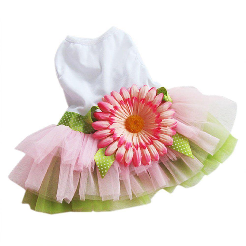Dog Daisy Gauze Tutu Dress Skirt Pet Dog Cat Princess Clothes Bowknot Dress S code