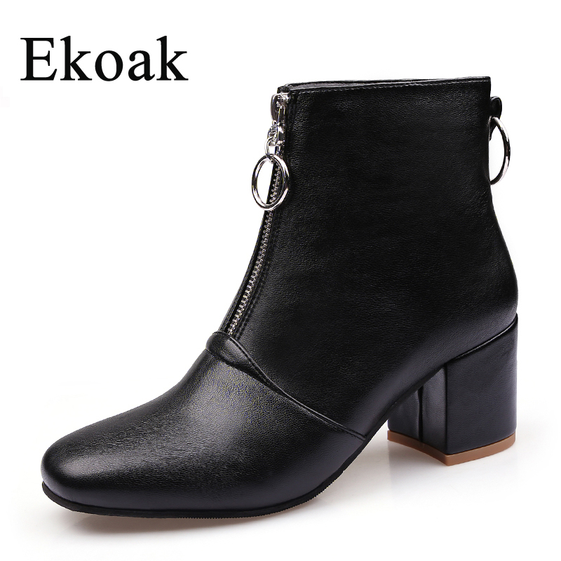 Ekoak 2018 Autumn Winter Women Ankle Boots Ladies High Heels Shoes Woman Fashion Zip Motorcycle Boots Women Leather Rubber Boots ekoak new 2017 winter boots fashion women boots warm plush mid calf boots ladies platform shoes woman rubber leather snow boots