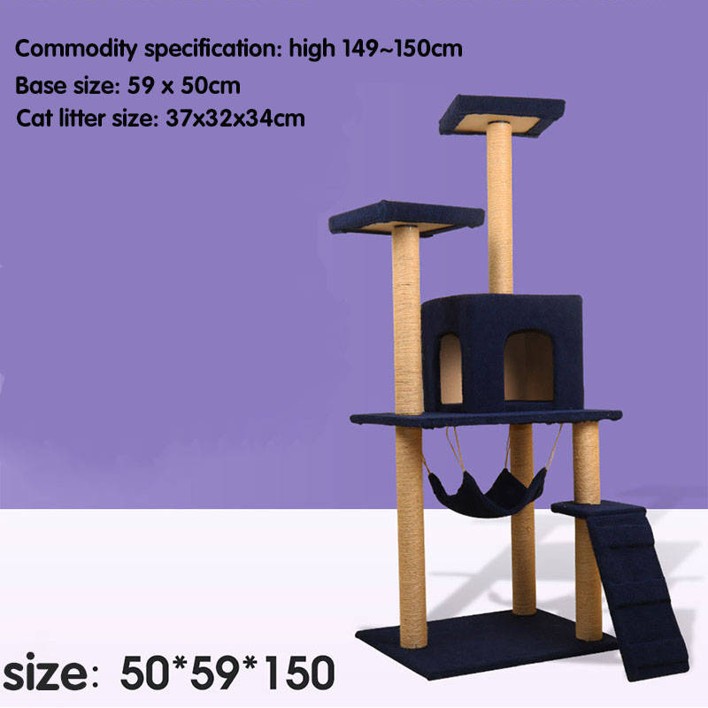 Large Sisal Cat Tree House with Jump Platform Multi functional Big Cats Climbing Frame Kitten Playing