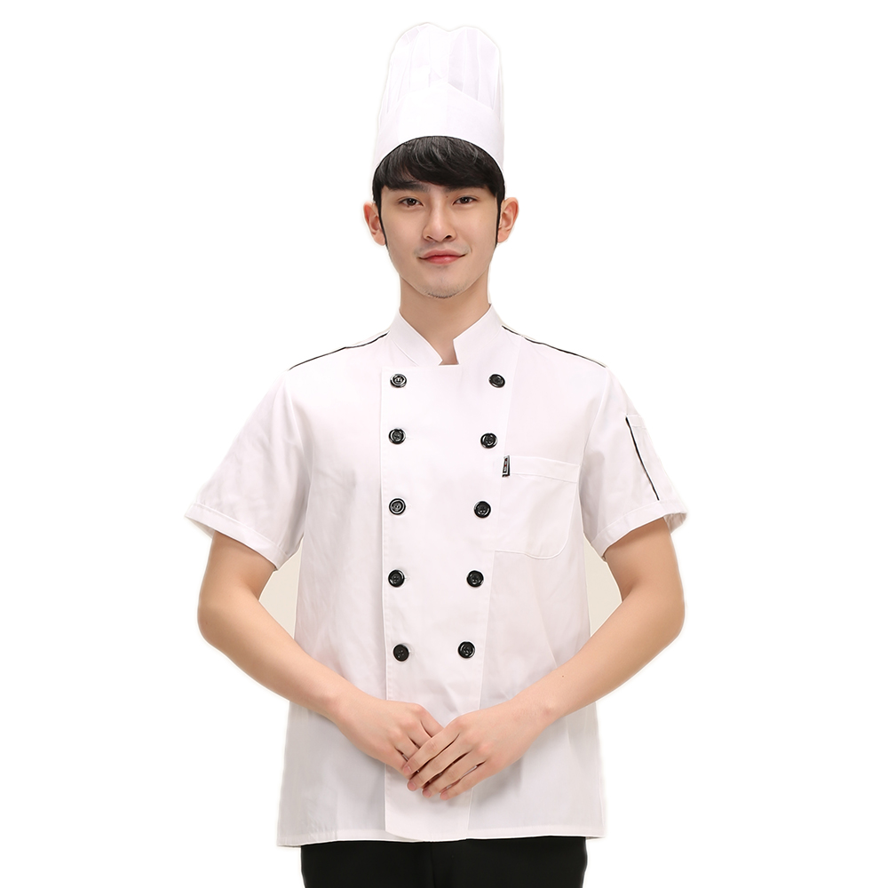 White Double-breasted Breathable Chef Jacket Restaurant Hotel Food Service Work Wear Overalls Kitchen Men Uniform Coat Suits
