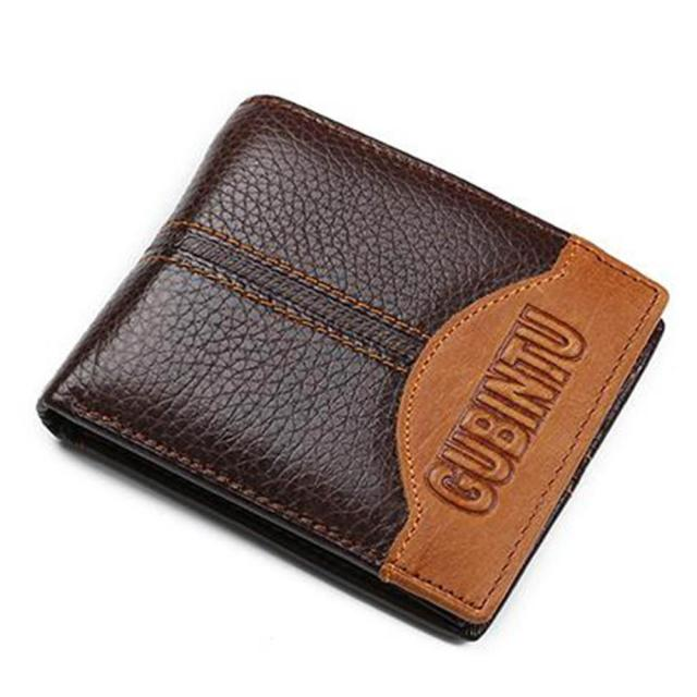 Genuine Leather Men Wallets Coin Pocket Zipper Real Men's Leather Wallet