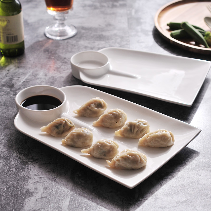 Creative White Ceramic Plate Japanese restaurant with sauce dish dumplings dishes Fruit plates snack set tableware