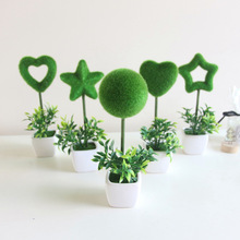 Artificial plant Mini flocking bonsai artificial Five-pointed star love ball plastic grass Ceramic square set 1PCS AQ222