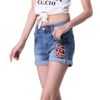 2017 Fashion Embroidery Blue Denim Shorts Floral High Waist Jeans Short Femme Shorts For Women Summer Shorts
