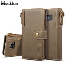 hot deal buy makeulike strap wallet case for samsung galaxy s7 edge flip cover pu leather fashion phone bag cases for samsung s7 s7edge pouch