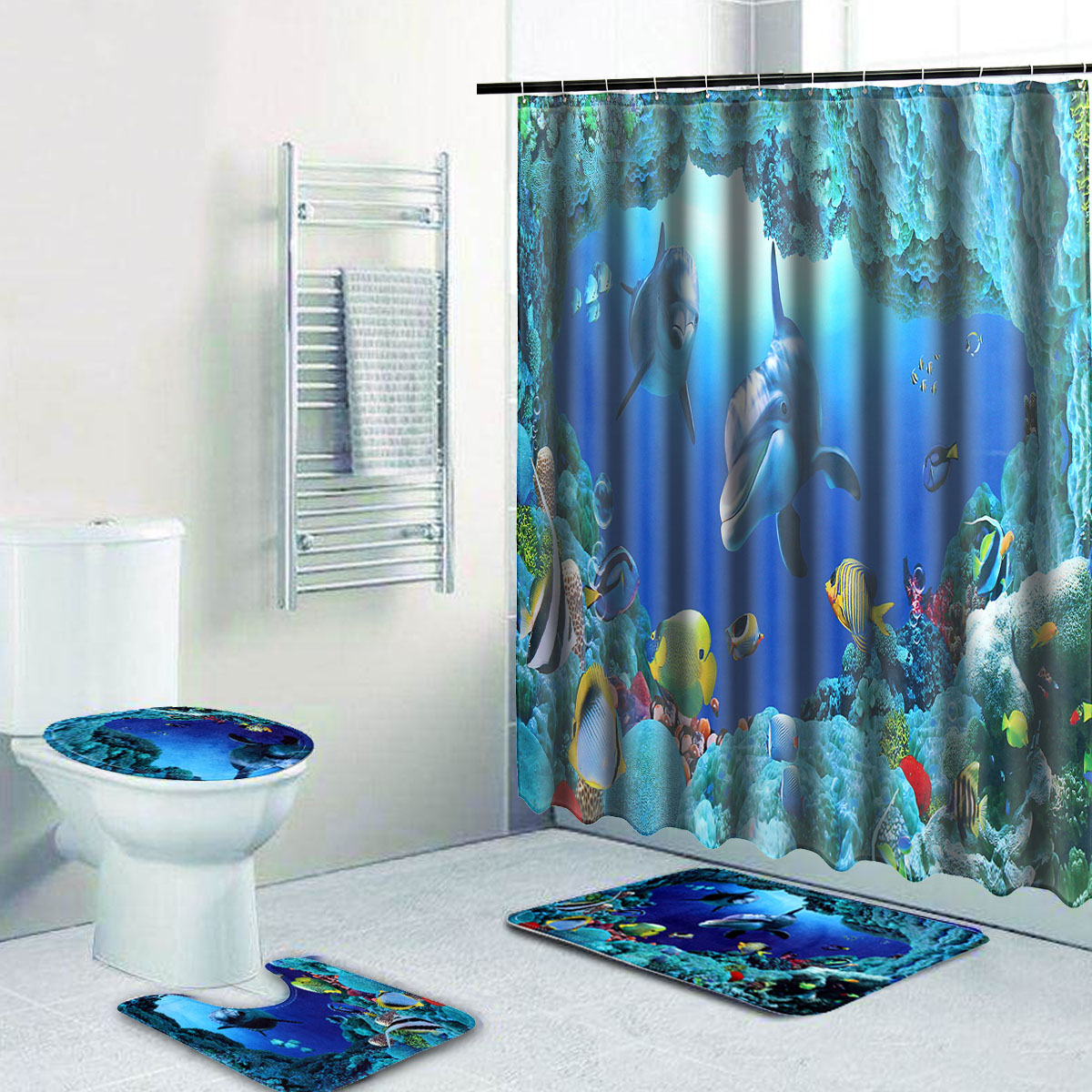 180x180cm Shower Curtain Bath Mat Set Ocean Dolphin Deep Sea Bathroom Waterproof With 12 Hooks Toilet Cover In Curtains From Home