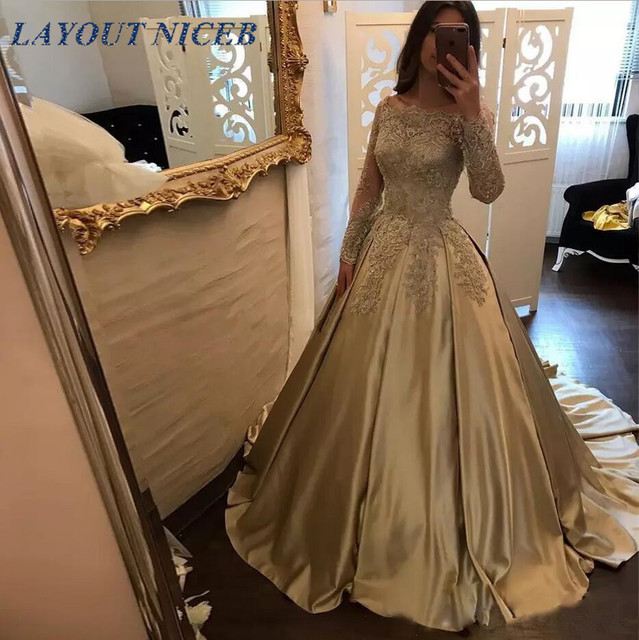 MED014 Prom Dresses Gold Satin Lace Long Sleeves Formal Evening Dress Party Gowns  Custom Made vestido de festa 3d42e174c47c
