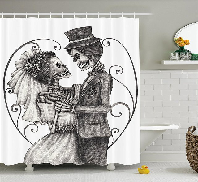 Day Of The Dead Decor Shower Curtain Love Valentines Skull Skeleton Marriage Eternal Spanish Festive Art