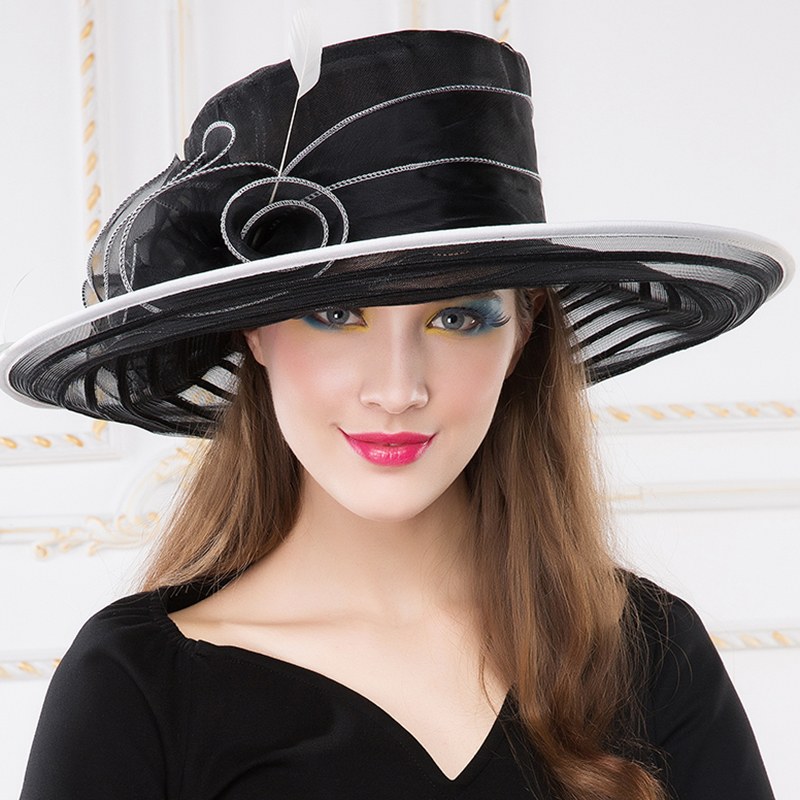 fd29b16e5 Summer Female Fedoras Hat Large Brim Black Organza Hats Vintage Floral  Design Wedding Dress Woman Kentucky Derby Hat B-8238