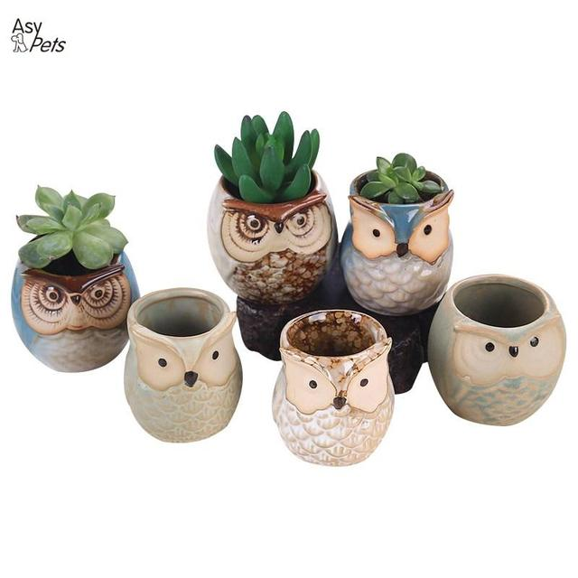 AsyPets 6pcs Ceramic Owl Plant Pot Flowing Glaze Base Creative Flower Container as Decorations-35
