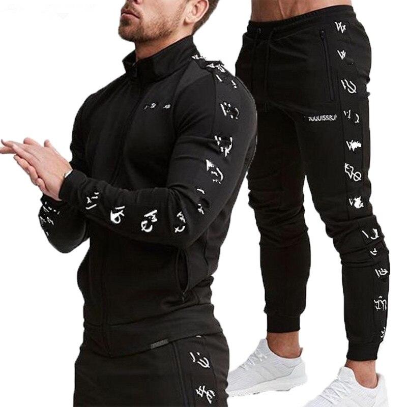 2019 nouveau VQ hommes ensembles vêtements de sport à la mode survêtements ensembles hommes GYMS Hoodies + pantalon veste décontractée costumes Chandal Hombre complet