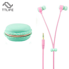 TTLIFE 3.5mm Jack Macaron Case Packing Headphone Fashion Colorful Earphone With Mic For Phones MP3 Player Noodle Cable Earbud