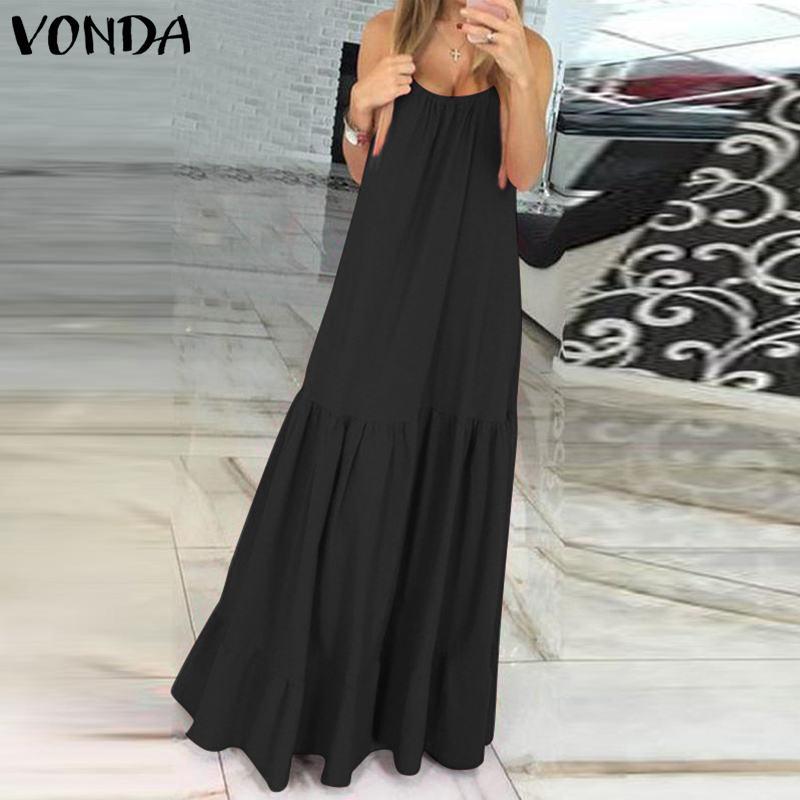 VONDA Bohemian Dress Women 19 Summer Sexy Sleeveless Spaghetti Strap Ruffle Swings Maxi Long Dresses Holiday Vestido Plus Size 6