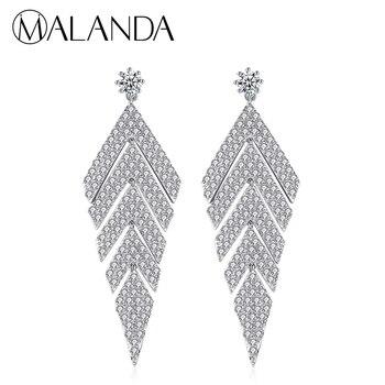 7b34907683a2 Бренд malanda прозрачный циркон длинные висячие серьги для женщин Мода ...