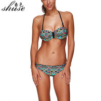 New Summer Push Up Bikini Roupa De Praia Swimwear Women Padded Fringe Bandeau Bikini Set New