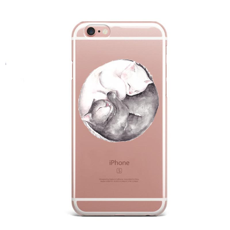 new style db542 e2d7a Watercolor Prince Cat Yoga Sports Girl Soft Silicone TPU Phone Case Cover  For Iphone 5S 6S 6Plus SE 7 XS Max XR 8 8Plus X 10