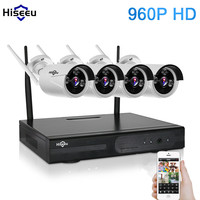 Hisseu 960P Wireless CCTV System 4ch Powerful Wireless NVR IP Camera IR CUT Bullet Camera Home