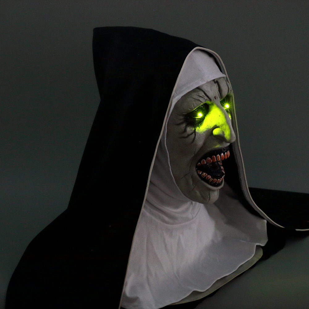 The Nun Mask Horror Mask With Scary Voice With Led light Cosplay Valak Latex Masks With Headscarf Helmet Halloween Party Props (7)