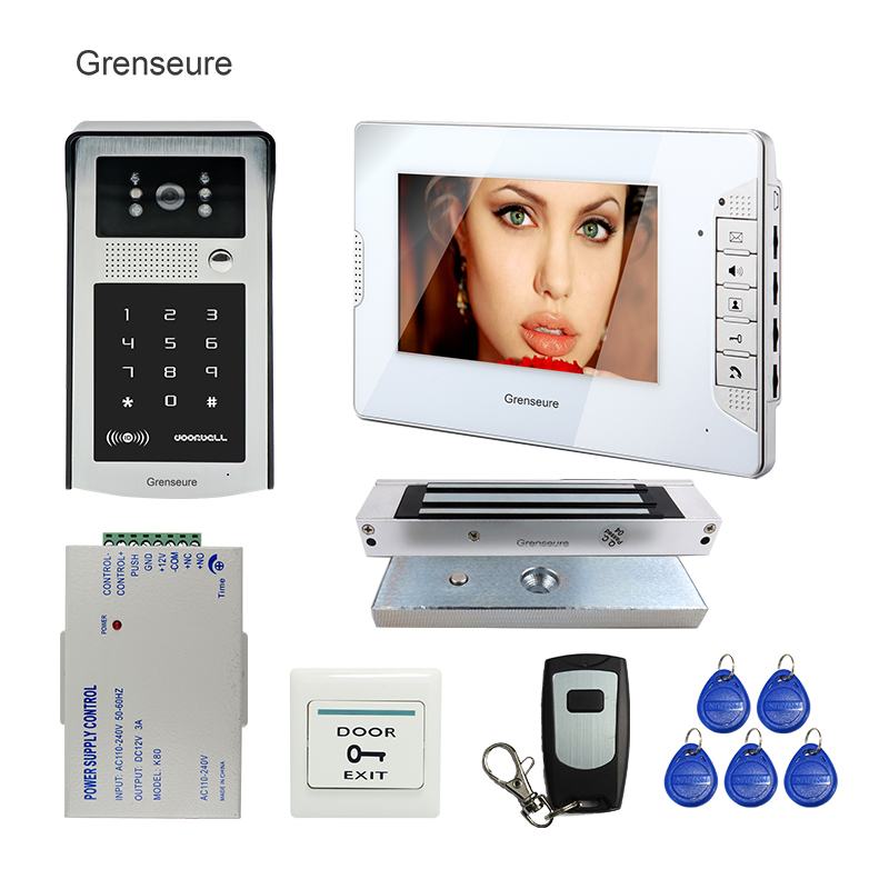 FREE SHIPPING 7 LCD Screen Video Door Phone Intercom System White Monitor + Waterproof RFID Code Keypad Doorbell Camera EM Lock free shipping 7 lcd video door phone intercom system 2 screens rfid access code keypad password camera electric control lock