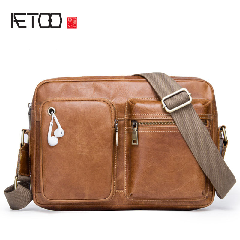 AETOO New first layer leather small square bag men's Messenger bag leather leisure shoulder bag