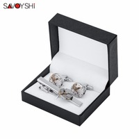 SAVOYSHI Punk Mechanical Watch Movement Mens Cufflinks Tie Clips Set High Quality Necktie Pin Tie Bars Clip Clasp Dropshipping