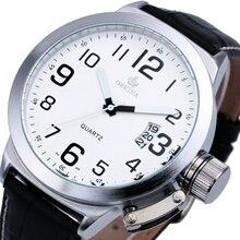 ORKINA Reloj Conciso Estilo de GRAN TAMAÑO de Los Hombres Negro Banda de Cuero Genuino W/Calendario Venta Caliente Marca de Lujo de Relojes reloj hombres