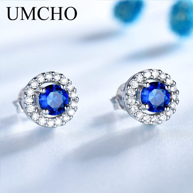 UMCHO Simulated Sapphire Stud Earrings For Women Solid Pure 925 Sterling Silver Earrings Wedding Princess Diana Romantic Jewelry