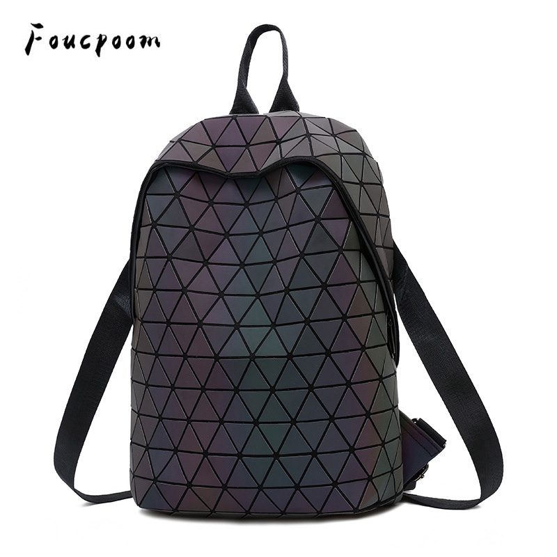 Luminous-Backpacks School-Bag Rucksack Female Geometric Women Trave for Shoulder