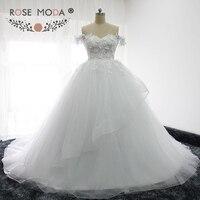 Rose Moda Tắt Vai Công Chúa Puffy Wedding Dress 3D Flowers Ren Corset Thổ Nhĩ Kỳ Cưới Bóng Áo Choàng 2017