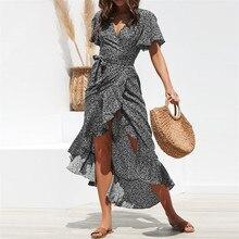 Printed bohemian long chiffon dress, summer beach ruffled, casual, V-neck, slit, sexy women, Robe Femme