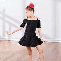 Mädchen Latin Ballroom Salsa Cha Cha Dance Wettbewerb Kostüm Set T-shirt Top Rock für Kind Tanzen Kleidung Kleidung Tänzerin tragen