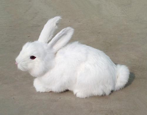 simulation cute white rabbit 34x25cm model polyethylene&furs rabbit model home decoration props ,model gift d406 simulation animal large about 40cm x 43cm white rabbit model lifelike squatting rabbit toy decoration gift t492