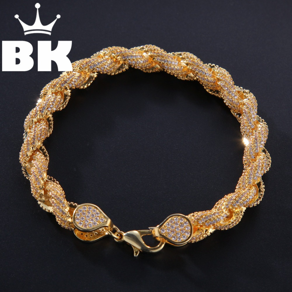8mm Cubic Zircon Rope Link Necklace Gold Silver Plated Luxury Copper Micro Paved CZ Cuban Chain