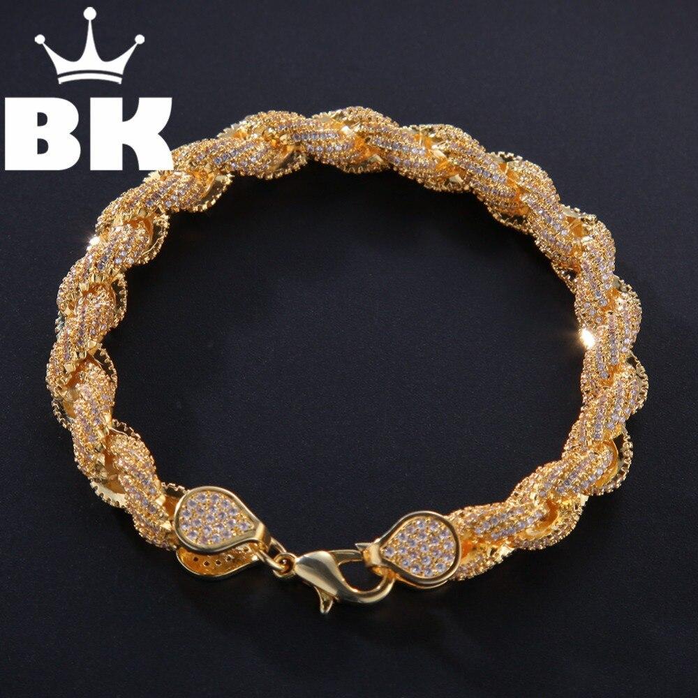 8mm cubique Zircon corde lien collier or argent plaqué luxe cuivre Micro pavé CZ chaîne cubaine 8 pouces