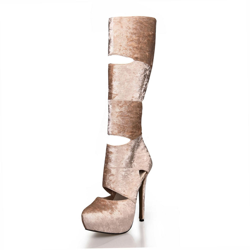 2016 Winter Beige Flock Sexy Party Shoes Women Round Toe Thin High Heels Cut-Outs Ladies Knee-High Boots Zapatos Mujer 3463BT-g4