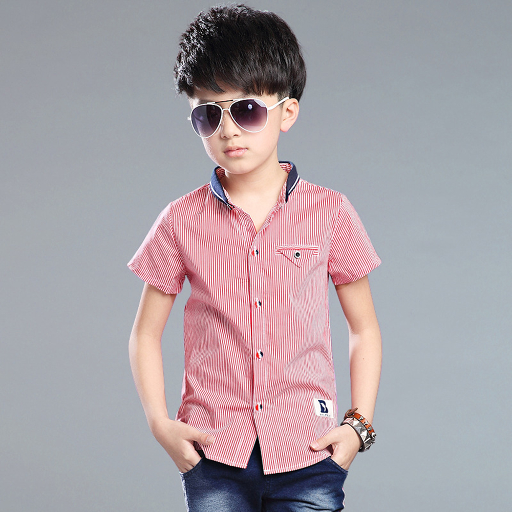 2018 Boys Striped Summer Polo Shirts Cotton Short Sleeve Turn-down Collar Buttoned Sports Tees School Children Clothing Fashion