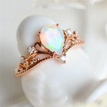Rose Gold Ring For Women Crown Design Rainbow Fire Opal White Cubic Zirconia Fashion Wedding Engagement Party anillos Jewelry Z4