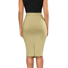 Womens Elastic High Waisted Pencil Skirt Stretch Bodycon Below Knee Skirt