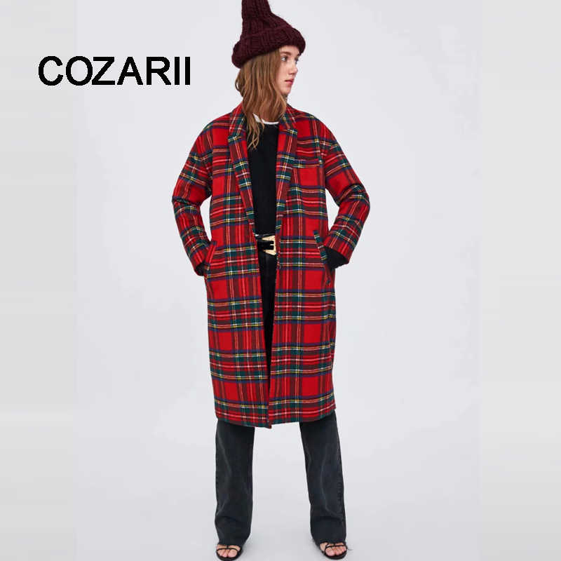 COZARII 2018 Women coat casaco feminino double button panelled striped Woolen england style women bomber coat plus size