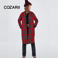 COZARII 2018 Women coat casaco feminino double button panelled striped Woolen england style women bomber coat plus size