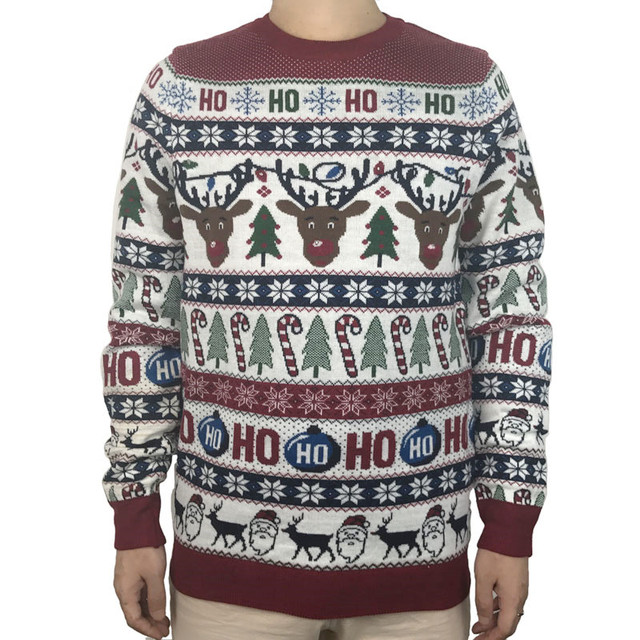 Washable Funny Light Up Ugly Christmas Sweater for Men Cute Reindeer Santa Claus Knitted Xmas Pullover Jumper Plus Size S 2XL