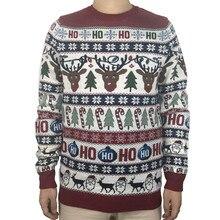 Zmywalny zabawny rozświetlający brzydki świąteczny sweter dla mężczyzn śliczny renifer święty mikołaj dzianinowy sweter Xmas sweter Plus rozmiar S 2XL