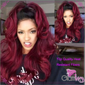Wavy Ombre Wine Red Synthetic Lace Front Wig Black to 99J Two Tone Color Synthetic Hair Wigs for Women Red Wig