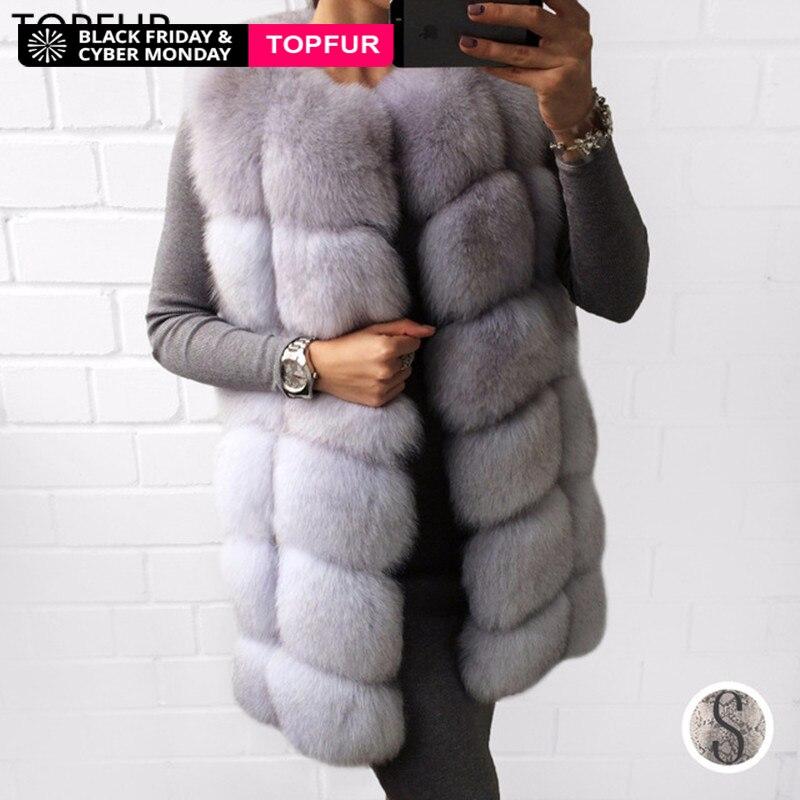 TOPFUR 2018 di Modo Reale Gilet di Pelliccia Cappotto di 70 cm di Lunghezza Delle Donne di Inverno Della Pelliccia Naturale Outwear Caldo di Spessore Cappotto di Pelliccia Reale vera Pelliccia