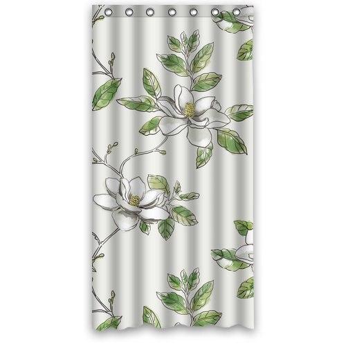 Custom Polyester Fabric Waterproof Bathroom Shower Curtain Magnolia Flower Bathroom decor