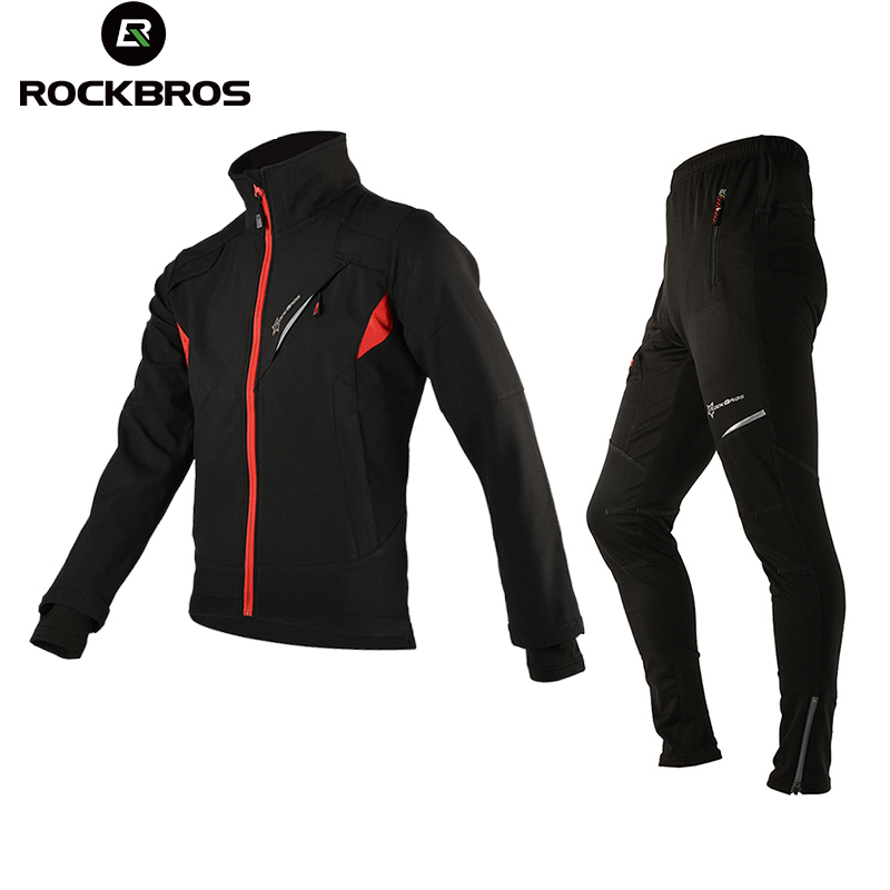 ROCKBROS Winter Fleece Cycling Bike Bicycle Sets Suits Thermal Men's Bike Jacket Trousers Winter Clothing Sportswear Equipment