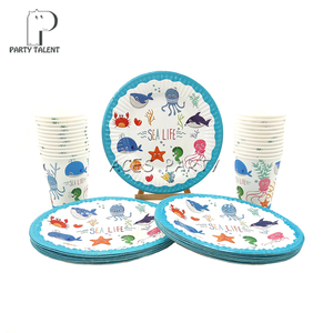 Party supplies 48pcs Seaworld Marine Animals party kids birthday party tableware set, 24pcs plates dishes and 24pcs cups glasses(China)